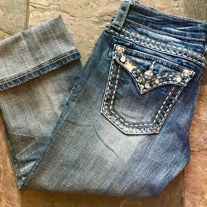 Miss Me Jeans Capri Cuff Rhinestones Buckle